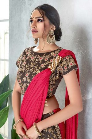 Traditional Saree With Contrast Blous & Embellished Border,Redy Plated & Half N Half- red & grey colour