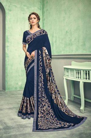 Party Wear desingner Sarees With Designer Blouses & embellished border – blue colour