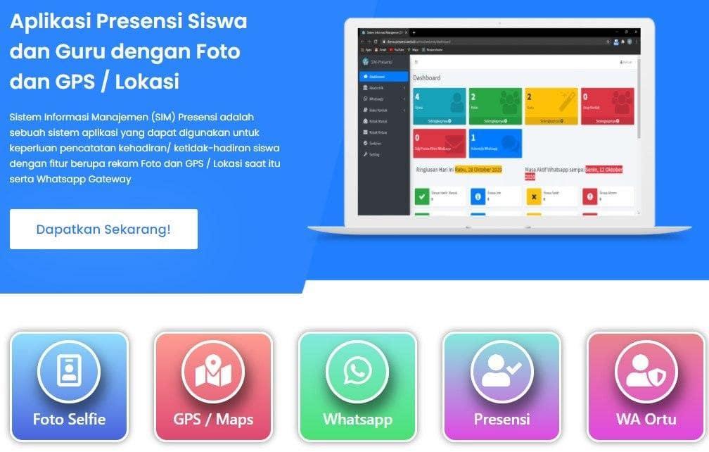 Presensi online Sekolah untuk Siswa dan Guru dengan Foto Selfie, GPS dan Whatsapp Gateway