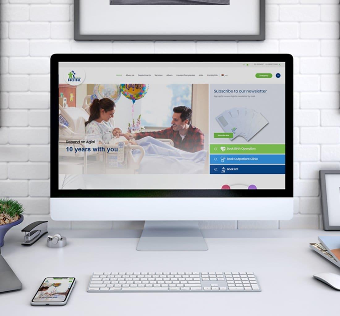 Alex Web Design, website development and mobile app development company clients in Egypt - Agial Hospital