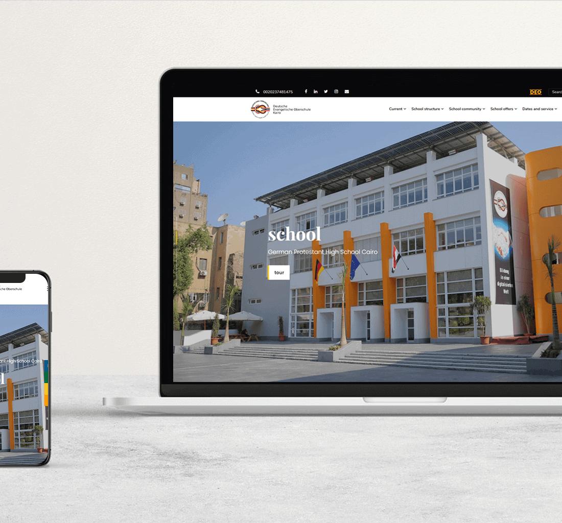 Alex Web Design, website development and mobile app development company clients in Egypt - German School-DEO