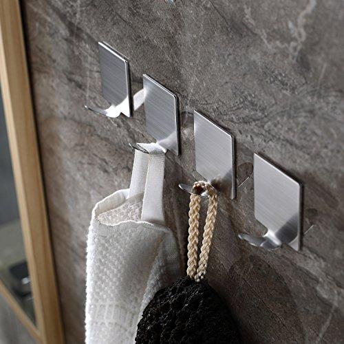 Ruicer Selbstklebend Handtuchhaken Kleiderhaken Ohne Bohren Bad und Küche Gebürstetes Edelstahl 4 STÜCK - 2