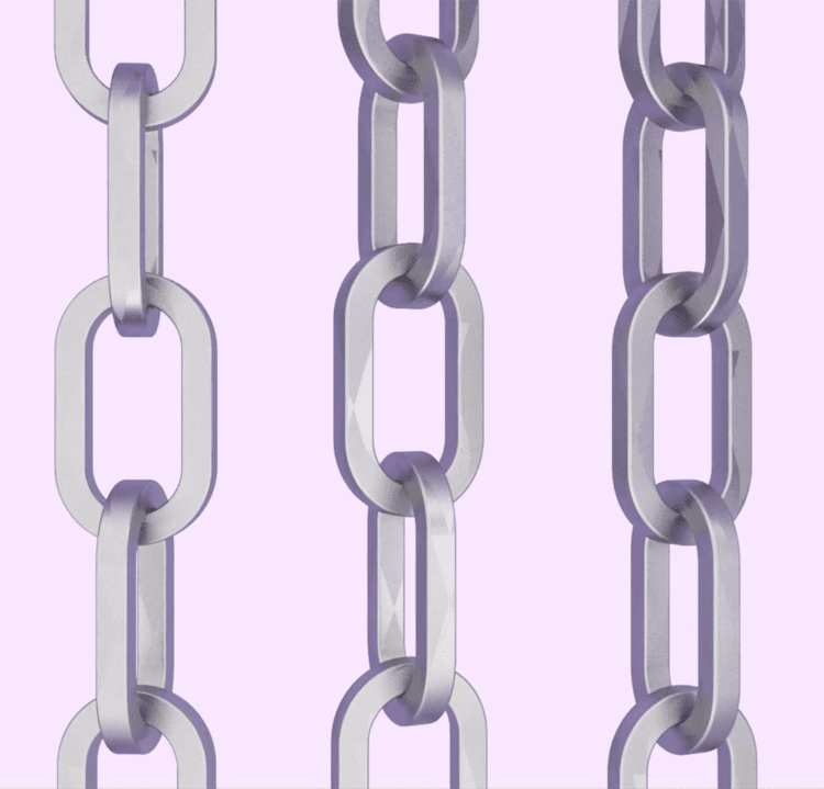 A 3D illustration of partners as the links in the community.