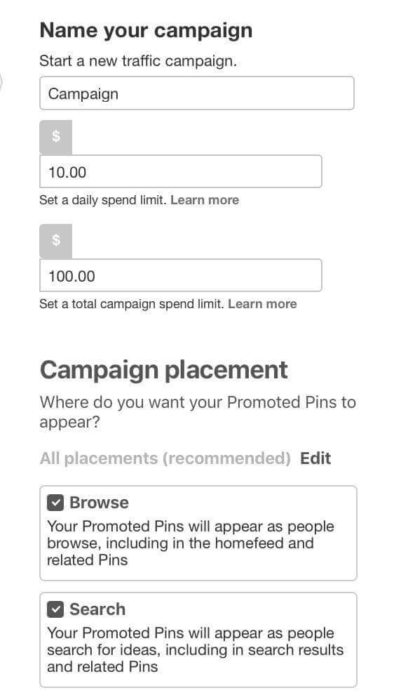 Promoted Pins campaign