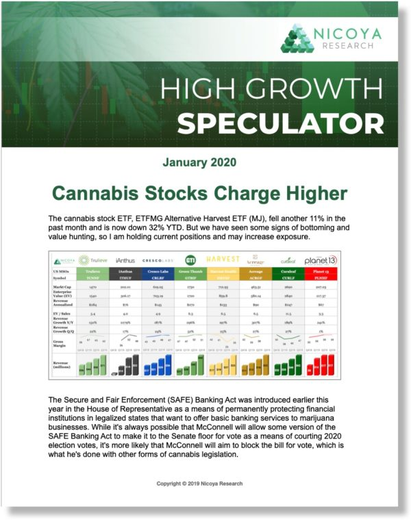 High-Growth Speculator is focused on companies with powerful top-line growth, such as cannabis stocks benefiting from legalization and the opening of new markets for the first time and technology companies that are disrupting their respective sectors.