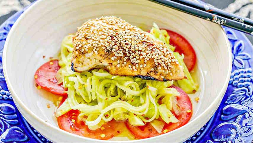Sesame Chicken Sunomono Salad