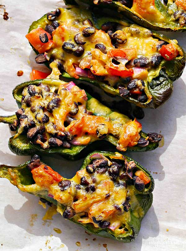 Roasted Stuffed Poblano Peppers
