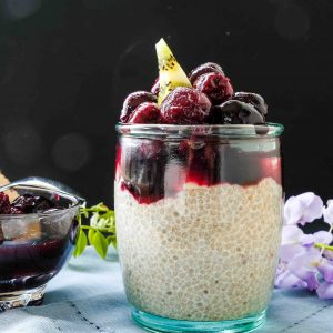 Cinnamon Chia Pudding with Cherry Compote
