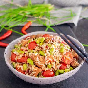 30-Minute Louisiana Chicken With Edamame Rice