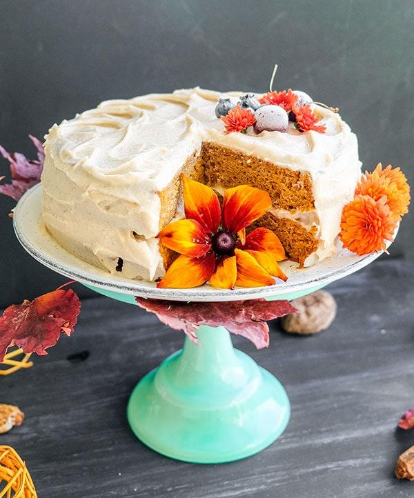 Chai Pumpkin Cake with Spiced Buttercream Frosting (Gluten-Free)