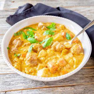 Potato And Sausage Pesto Soup – (Gluten-Free)