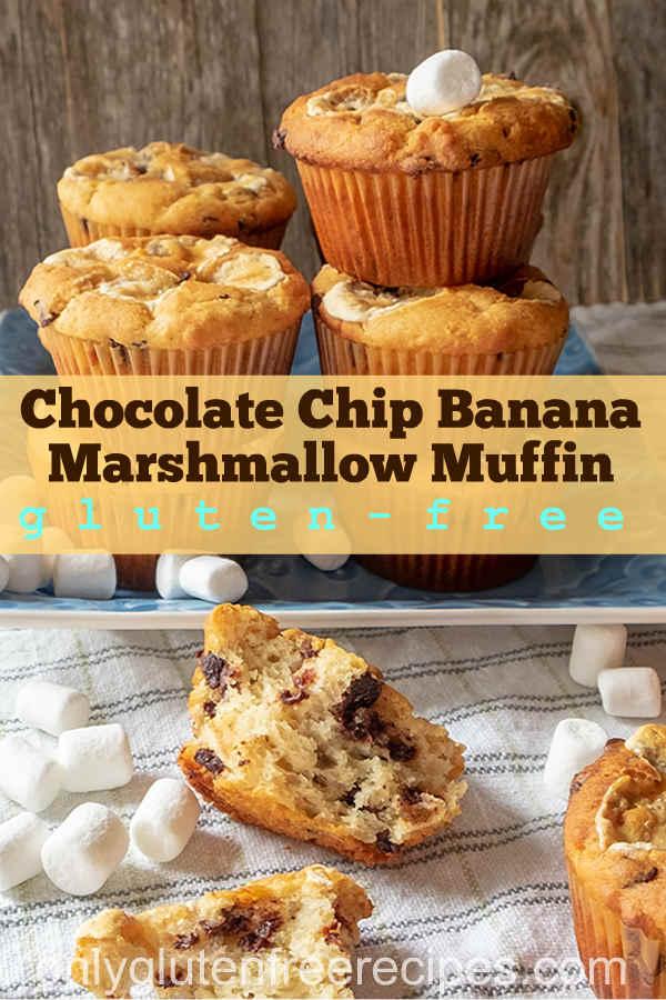 Gluten-Free Chocolate Chip Banana Marshmallow Muffin