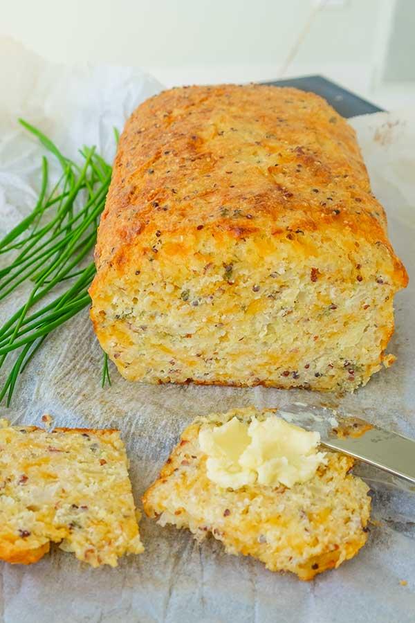 Gluten-Free Quinoa Cheese Bread with Onions