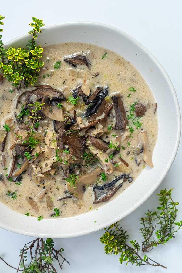 Creamy Chicken Mushroom and Rice Soup