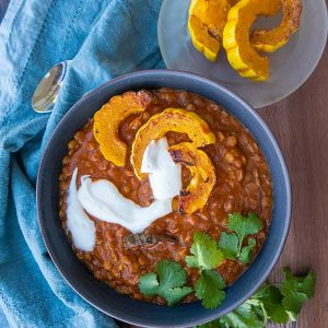 Instant Pot Creamy Lentils with Roasted Squash