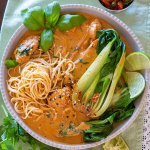 30 Minute Creamy Thai Chicken with Noodles