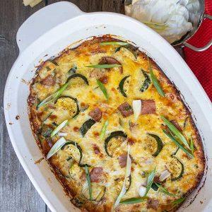 Zucchini And Ham Cheese Casserole -Keto