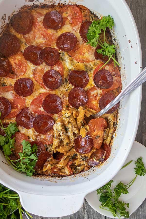 One Pan Baked Cheesy Pepperoni Pasta – Gluten Free