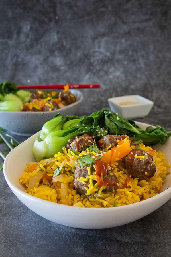 Firecracker Rice Bowl with Sesame Meatballs