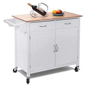5. Giantex Portable Kitchen rolling Island Cart Wood
