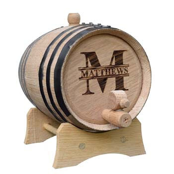 1. Custom Whiskey Barrel-Personalized Wine Barrel-Engraved Oak Two Liter Barrel