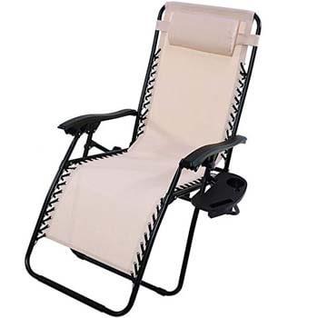 10. Sunnydaze Beige Recliner Chair