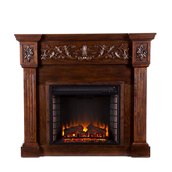 5. Southern Enterprises Calvert Carved Electric Fireplace