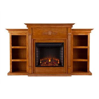 10. SEI Southern Enterprises Tennyson Electric Fireplace with Bookcase