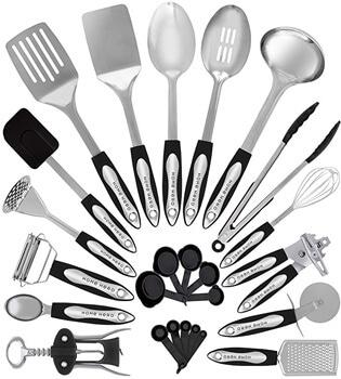 2. Stainless Steel Kitchen Utensil Set - 25 Cooking Utensils