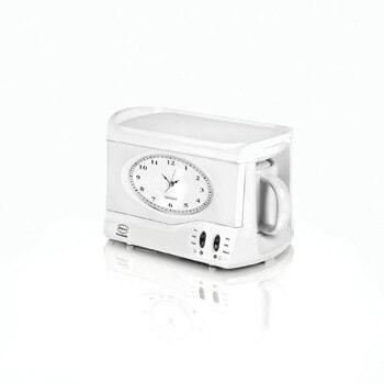 4. SWAN Vintage Teasmade and Alarm Clock, 20oz White