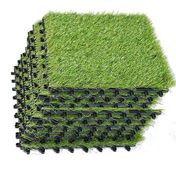 8. ECO MATRIX Artificial Grass Tiles Interlocking Fake Grass Deck Tile