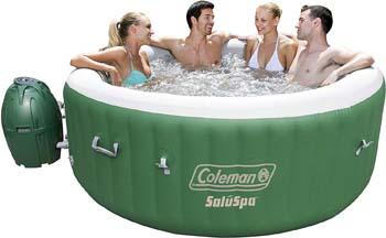 1: Coleman SaluSpa Inflatable Hot Tub Spa, Green & White