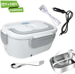 3. HEIGE Electric Lunch Box for Car and Home 110V & 12V 40W