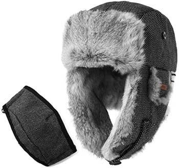 2. Comhats SIGGI 100% Rabbit Fur Earflaps Trapper Hat Wool Blend Russian Hat w/Mask Unisex