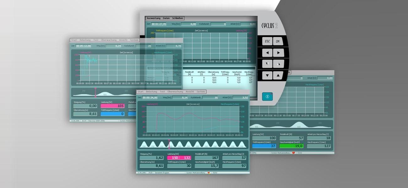 Softwareoberflächen mehrerer Screen des Cyclus 2