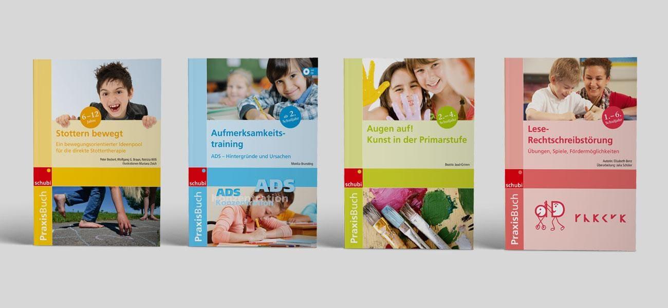 vier Cover der Reihe PraxisBuch