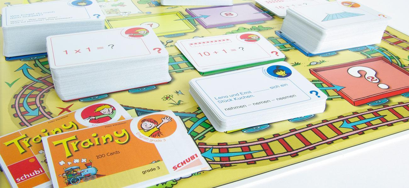 Lernspiel Trainy mit Speilbrett und Spielkarten