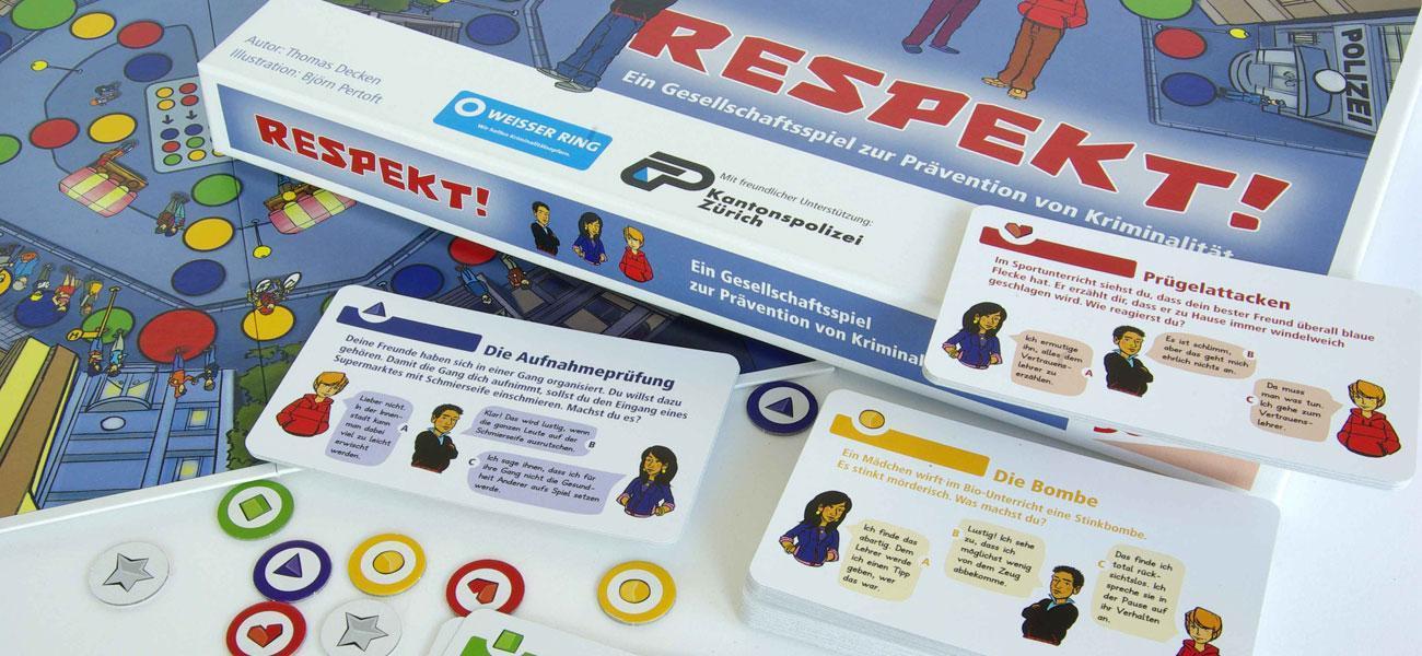 Gesellschaftsspiel Respekt mit Spielkarten, Spielchips, Spielschuber