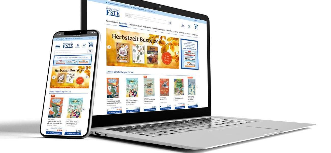 Laptop und Smartphone im Redesign des Este Onlineshops