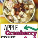 This Apple Cranberry Fruit Salad recipe is the perfect fall dessert. Apples, craisins and pecans pair up to create this delicious creamy fall fruit salad recipe. The salad is tossed in a simple cream cheese and yogurt dressing.