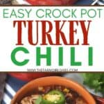 Savor the goodness of this easy Slow Cooker Turkey Chili. Save time by preparing this chili recipe in your slow cooker so it's ready for the family when you get home for dinner.