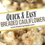 This Easy Breaded Cauliflower is the perfect side dish for any occasion. It's the perfect addition to yourholiday menu. This easy vegetable side dish is crispy, buttery and so delicious. It makes the perfect Thanksgiving side dish too. Try this easy cauliflower recipe for your family.