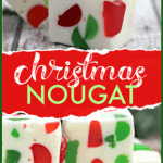 Make a batch of this delicious Christmas Gumdrop Nougat to share with friends and family during the holidays. This easy candy recipe is a real treat. #Nougat #Christmas #Candy #ChristmasNougat #GumDrops #CandyRecipe #HolidayBaking #ChristmasRecipe
