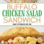 This buffalo chicken salad sandwich is so tasty! Packed with chicken fruit and veggies, It's the perfect sweet and spicy chicken salad sandwich recipe for lunch or dinner.