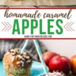 Nothing says fall like crisp apples. Add a sweet twist to your apples with this easy and delicious Homemade Caramel Apples recipe. This is a fun fall apple dessert to decorate and eat! These yummy apple snacks will be a hit, #applerecipe #caramelapples #candyapples #falldessert