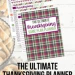 Make your Thanksgiving holiday stress-free this year. This Thanksgiving Game Plan planner is a 40-page collection of helpful printables and Thanksgiving recipes that will keep you organized and allow you to spend more time with family and guests. This printable planner is everything you need to plan out your menu, grocery list, cleaning schedule, chores, and even plan for Black Friday and Cyber Monday shopping! #thanksgivingplanner #Thanksgivingrecipe #planner #thanksgivingdinner #mealplanning