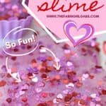 You and yourkids will LOVE making this easy DIY Valentine's Day Slime project. This easy Valentine's Day Craft is a lot of ooey-gooey fun. This kids craft makes a great party favor too! Learn how to make this easy slime recipe for kids. #Slime #ValentinesDay #Crafts #DIY #Kids #KidsCrafts #PartyIdeas
