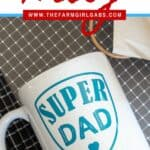 Say thanks to dad! Make dad this easy Cricut DIY Super Dad Father's Day Mug. This Super Dad mug is an easy beginner Cricut craft project. This easy cricut craft will make the best Father's Day gift. This cricut tutorial also includes a FREE SVG file to use. #cricutcraft #cricuttutorial