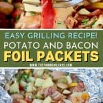 Fire up the grill and make this Potato And Bacon Foil Packets recipe. This easy grilled side dish is a perfect bbq recipe or camping recipe.
