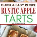 They may look fancy, but these easy puff pastry apple tarts are anything but! This easy rustic apple tarts recipe is so delicious. Fill these apple pastries with your favorite apple variety, cinnamon and sugar. This easy apple tart recipe is perfect for breakfast or a quick snack. You family will love this easy apple dessert recipe made with puff pastry.